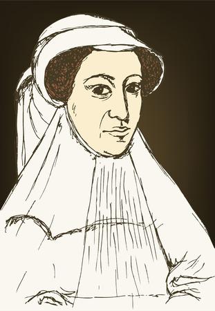 scots: Sketch Mary Stuart portrait in vintage style, vector Illustration