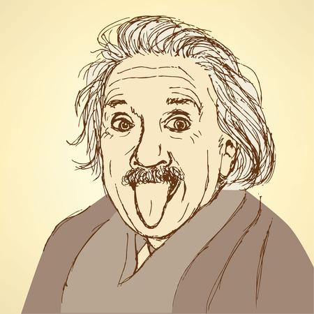 빈티지 스타일의 스케치 알버트 아인슈타인, 벡터 일러스트
