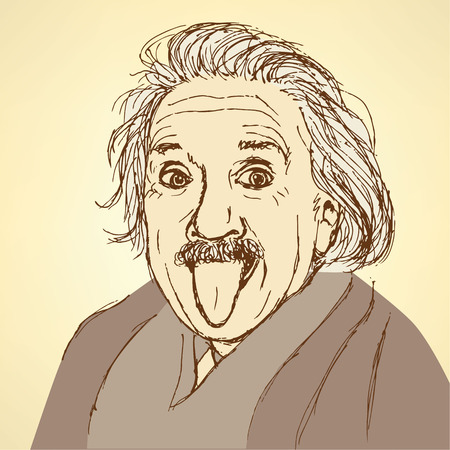 Sketch Albert Einstein in vintage style, vector