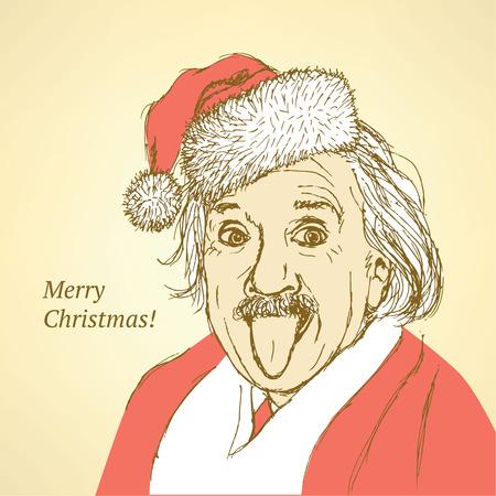 Sketch Albert Einstein in vintage style, vector Vector