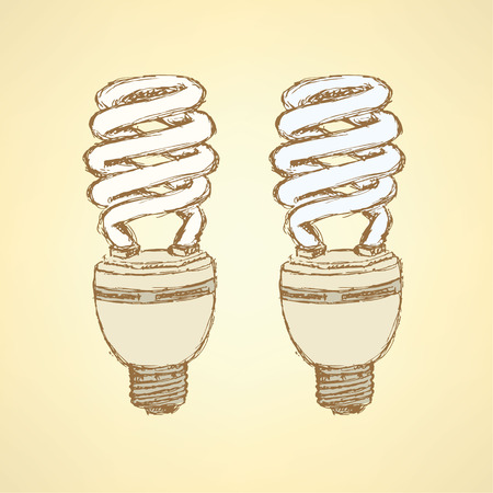 compact fluorescent lightbulb: Sketch economic light bulb in vintage style, vector