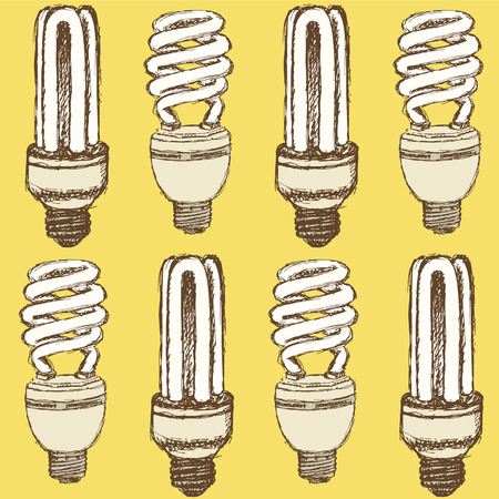 compact fluorescent lightbulb: Sketch economic light bulb in vintage style, vector seamless pattern