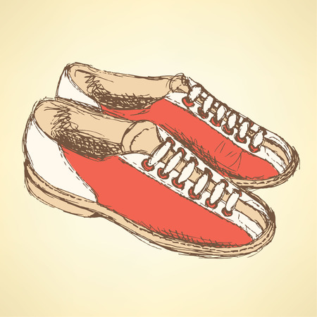 snickers: Sketch bowling shoes in vintage style, vector