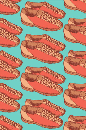 snickers: Sketch bowling shoes in vintage style, vector seamless pattern Illustration