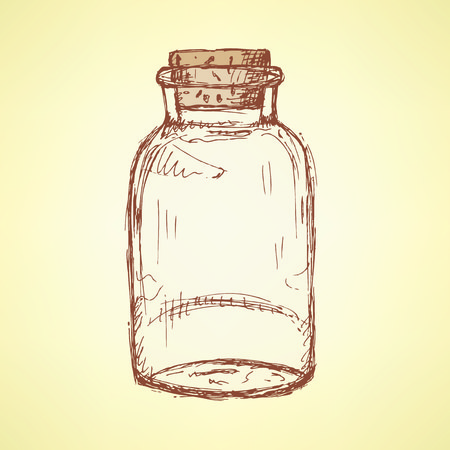 apothecary: Sketch jar with cork in vintage style, vector