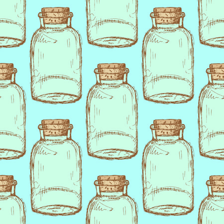 Sketch jar with cork in vintage style, vector seamless pattern