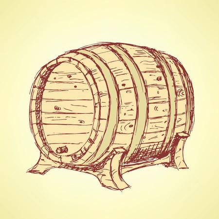 barrel tile: Sketch wine barrel in vintage style, vector