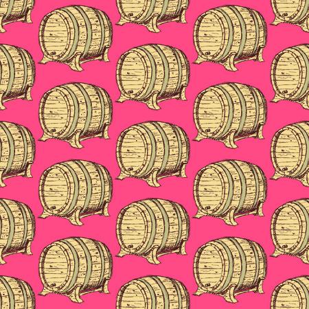 barrel tile: Sketch wine barrel in vintage style, vector seamless pattern Illustration