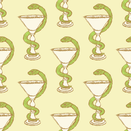 Sketch pharmacy symbol in vintage style, vector seamless pattern Vector