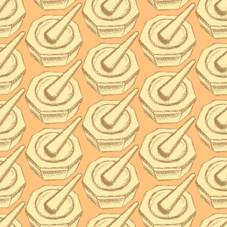 pounder: Sketch chemical pounder in vintage style, vector seamless pattern