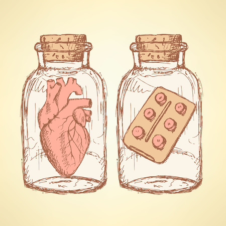 apothecary: Sketch medical set  in vintage style, vector