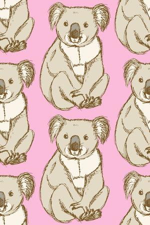 Sketch cute koala in vintage style, vector seamless pattern Vector
