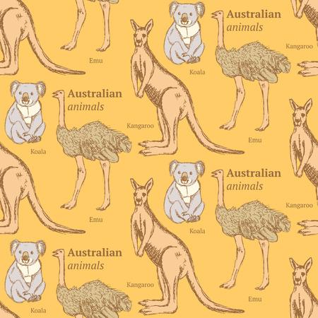 australian animals: Sketch Australian animals in vintage style, vector seamless pattern