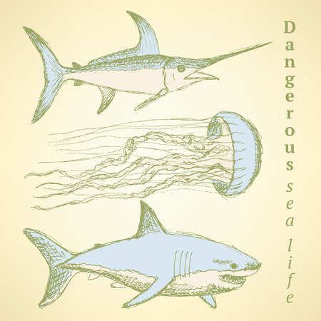 marline: Sketch sea creatures in vintage style, vector