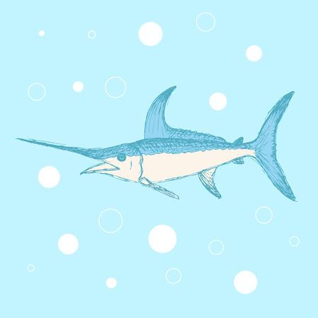 Sketch cute swordfish in vintage style, vector Vector