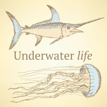 marline: Sketch sea creatures in vintage style, vector
