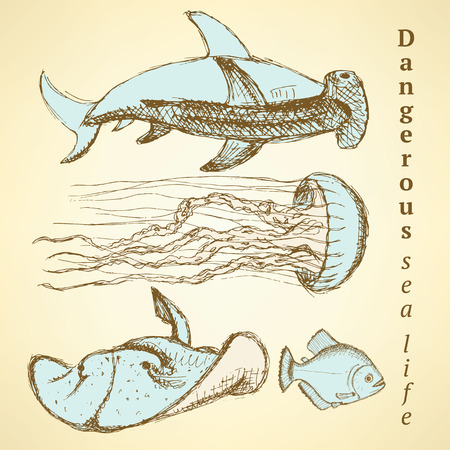 creatures: Sketch sea creatures in vintage style, vector