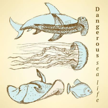 Sketch sea creatures in vintage style, vector