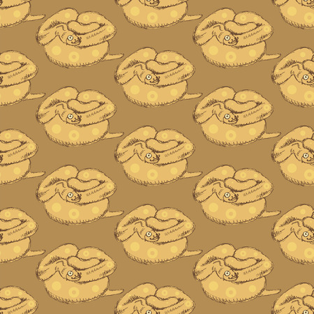 Sketch hipster anaconda  in vintage style, vector seamless pattern Vector