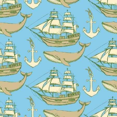 Szkic morskiej styl vintage, wektor szwu Ilustracje wektorowe