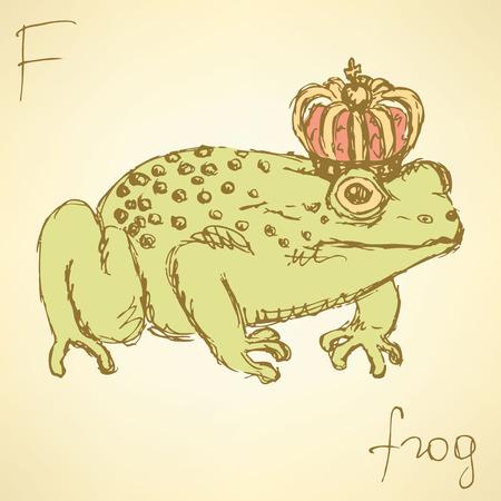 Sketch fancy frog in vintage style, vector Vector