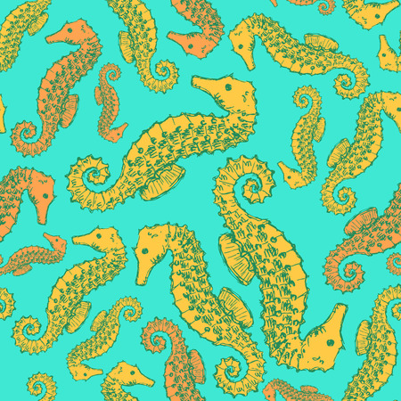Sketch seahorse in vintage style, vector seamless patter Vector