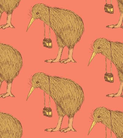 Sketch fancy kiwi bird in vintage style, vector seamless pattern