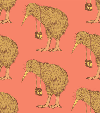 Sketch fancy kiwi bird in vintage style, vector seamless pattern