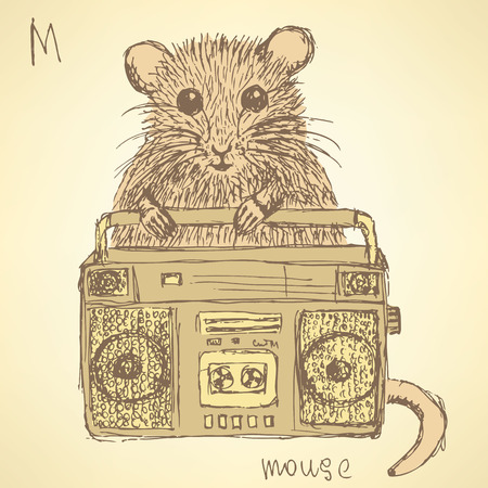 Sketch fancy mouse in vintage style, vector Vector