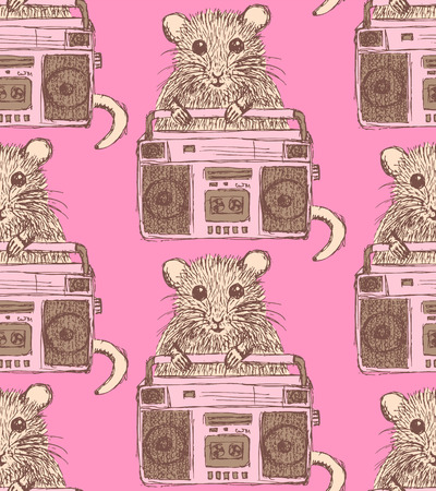 Sketch fancy mouse in vintage style, vector seamless pattern Vector