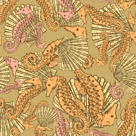 Sketch seahorse and shell in vintage style, vector seamless patter Vector