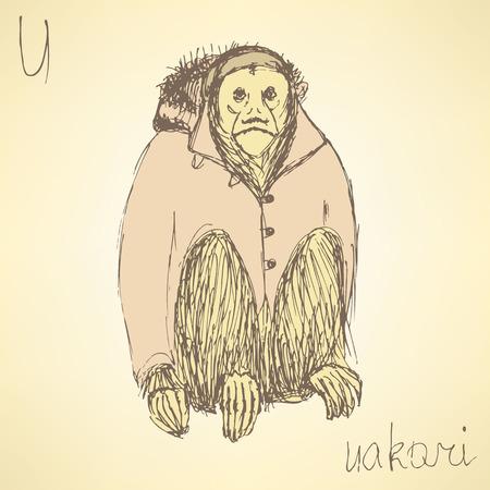 Sketch fancy uakari in vintage style, vector Vector