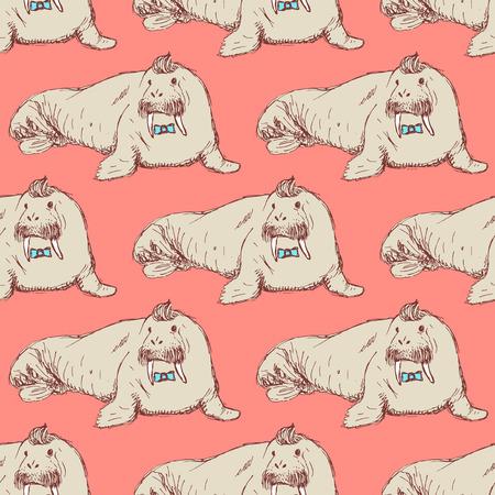 Sketch fancy walrus in vintage style, vector seamless pattern Illustration