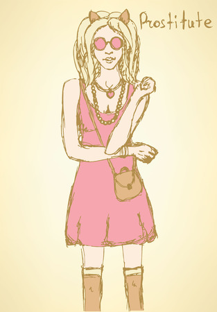 Sketch prostitute from Mafia board game in vintage style, vector Vector