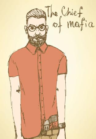 organized crime: Sketch fancy mafia in vintage style, vector Illustration