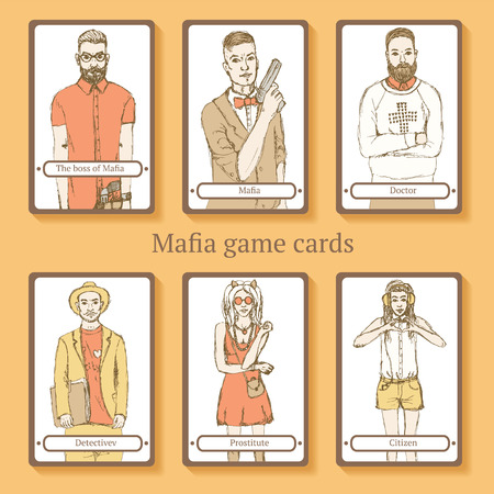 Sketch Mafia cards in vintage style, vector Illustration