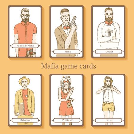 organized crime: Sketch Mafia cards in vintage style, vector Illustration