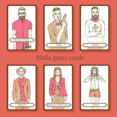 godfather: Sketch Mafia cards in vintage style, vector Illustration