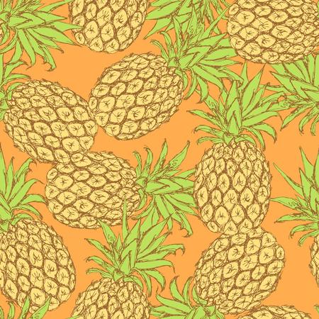 Sketch tasty pineapple in vintage style, vector seamless pattern Vector