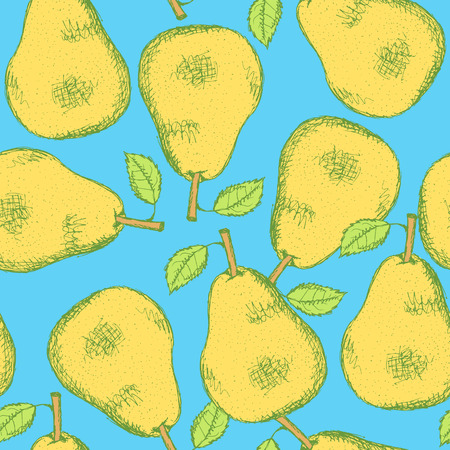 Sketch tasty pear in vintage style, vector seamless pattern Vector