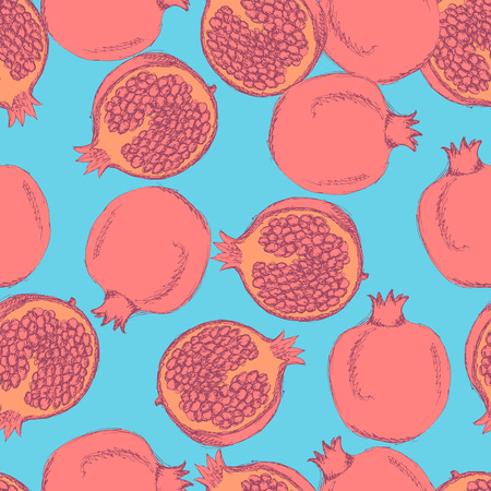 Sketch tasty pomegranates in vintage style, vector seamless pattern Vector