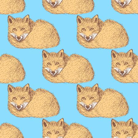 Sketch cute fox in vintage style, vector seamless pattern Vector