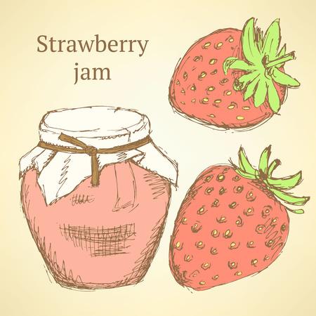 Sketch strawberries and jar in vintage style, vector Vector