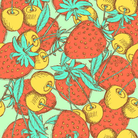 Sketch cherry and strawberry in vintage style, vector seamless pattern Vector