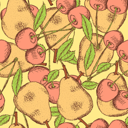 Sketch cherry and pear in vintage style, vector Vector