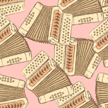 concertina: Sketch accordion music instrument in vintage style, vector seamless pattern
