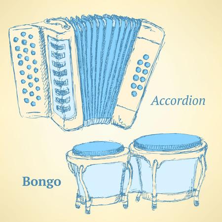 bongos: Sketch bongos and accordion in vintage style, vector