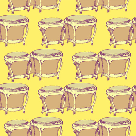 bongos: Sketch bongos musical instrument in vintage style, vector seamless pattern