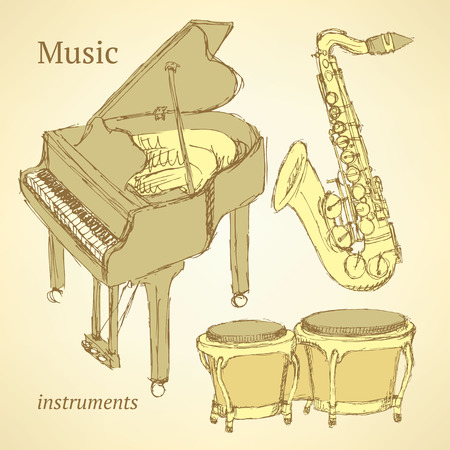 tenor: Sketch musical instrument in vintage style, vector
