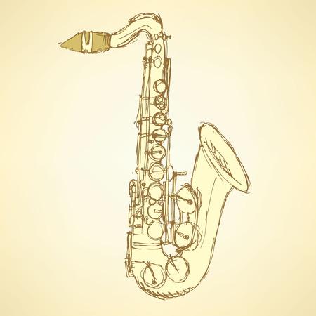 tenor: Sketch saxophone musical instrument in vintage style, vector